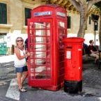Red phone box and pillar box, Valletta, Malta, reflecting British heritage