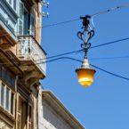 Overhead streetlamp, Valletta, Malta