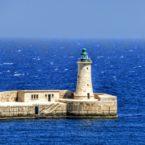 Breakwater and lighthouse, Grand Harbour, Valletta, Malta